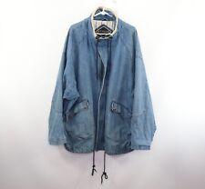 Vintage 90s Mens Large Streetwear Full Zip Denim Jean Jacket Parka Blue Cotton