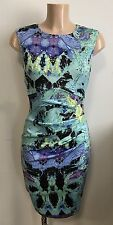 Blue Black Print Ruch Feature Front Wiggle Pencil Office Shift Dress Size 8
