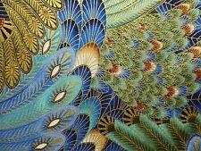 FEATHERS PEACOCK Fabric Fat Quarter Cotton Craft Quilting Art Deco METALLIC