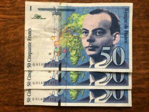 billet France 50 francs 1994 ( 3 numeros qui se suivent)