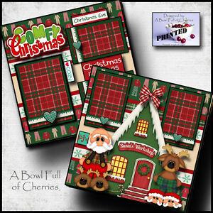 CHRISTMAS PAJAMAS PJ's PRINTED 2 premade scrapbook pages paper printed BY CHERRY
