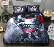 Halloween 3D Skull Bedding Set Queen Duvet Cover Sugar Skulls Bed 4PCS Bedding
