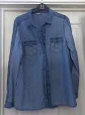 TU Blue Cotton Denim Look Soft Shirt, Size 12 - Lovely!