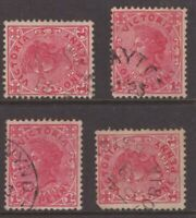 Victoria postmark selection on 4 x 1d red QV with annotations