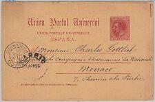 España - HISTORIA POSTAL: ENTERO POSTAL a MONACO ! 1886