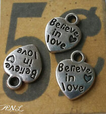 10 Quote Charms Pendants BELIEVE IN LOVE Word Charms Silver Heart Charms