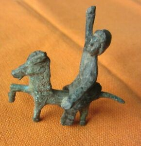 66.Celtic style bronze horse and rider figurine.
