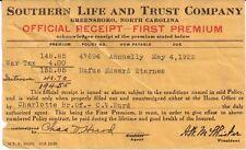 1922 Southern Life And Trust Company Greensboro Nc Rufus Edward Starnes