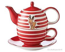 TEA FOR ONE SET ELCH GUSTAV MIT STREIFEN MILA DESIGN KANNE TASSE TELLER 400 ML