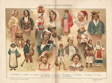 B2532 Italia - Tipi e Costumi Regionali - 1928 Cromolitografia d'epoca