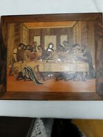 "Antique Handmade Wood Inlay Art ""The Last Supper""   Wall Hanging.  Jesus Inlaid"