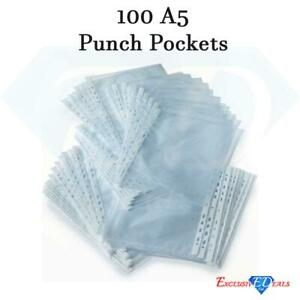A5 Clear 100 Punched Pockets Strong Poly Plastic Sleeve Wallets High Quality