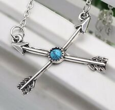 "7/8"" x 1-1/8"" CROSSED ARROWS w/ Blue Stone Pendant Necklace 16"" Chain Bohemian"
