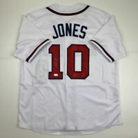 Autographed/Signed CHIPPER JONES Atlanta White Baseball Jersey JSA COA Auto