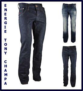 jeans energie da uomo a zampa slim fit dritti vita bassa svasati w30 31 32 44 46
