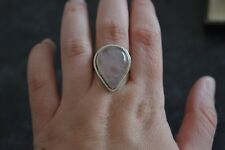 Vintage Genuine Silver Ring With Rose Quartz, Full UK Hallmarks, Size S , 925