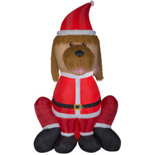 Gemmy Airblown Inflatable Fuzzy Plush Golden Doodle Santa Giant 9ft tall New