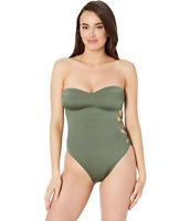 Kenneth Cole Green Side Looped Bandeau One-Piece Swimsuit Women's Size L 4224
