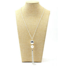 Fashion Women's Lady Pearls Long Chain Charms Sweater Chain Tassel Necklace