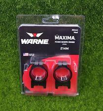 Warne Maxima Fixed Scope Rings 30mm Medium Steel Rings, Black - 214M