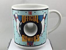 OFFICIAL BOWLERS CERAMIC COFFEE MUG TEA CUP Bowling Ball Hole VTG Papel
