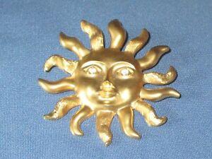 Vintage Signed AVON Gold-Tone Metal Rhinestone Eyed Sun Pin Brooch / Pendant