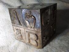 Silver or Silvertone Old Piggy Bank Old Coin Bank 4 Baby Leonard Coin Bank ABC