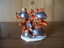 Vintage Herend Coral With Fishes Porcelain Figurine, Rare