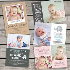 10 x Personalised Thank You Cards ~ Baby Boy or Girl / Birthday Christening (B1)