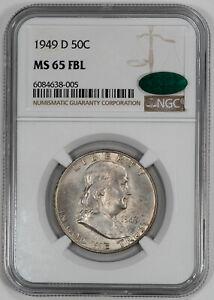 1949 D FRANKLIN HALF DOLLAR 50C NGC & CAC MS 65 FBL UNC - FULL BELL LINES (005)