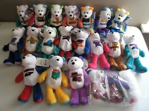 COIN BEARS Lot / Set of 20 State Bean Bag Plush Limited Treasures 1-18 and 21 22