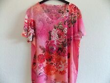 Shirt von Adler, Gr. XL/XXL, Rot, Rosa, Pink, Grau, Strass, Geblümt, Wie neu