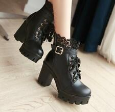 Womens Lace Wedge High Heel Platform Ankle Boots Chunky Block Heel Shoes Creeper