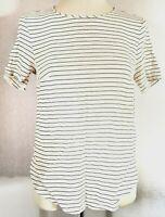 H&M Women's Top White Black Size 12 Striped Casual VGC