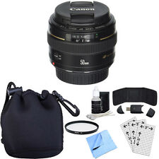 Canon EF 50mm f/1.4 USM Standard + Medium Telephoto Lens w/ Accessory Bundle