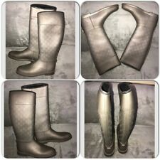 Authentic GUCCI GG Pattern Rain Boots Metallic silver to beige Rubber Size 40