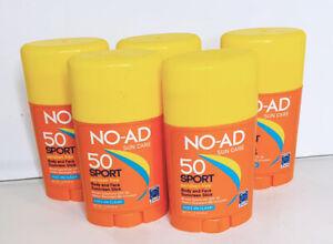 Lot Of 5 NO-AD Sun Care SPF 50 Sport Body & Face Sunscreen Sticks 1.5 Oz Each