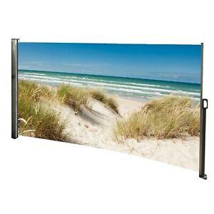 Seitenmarkise Sichtschutz Windschutz Ostsee Strand Motiv - ausziehbar Alu Links