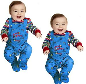 Chucky Baby Costume Babies Halloween Chucky Doll Fancy Dress Outfit 0-12 Mnths