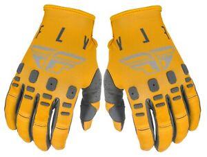 Fly Racing Kinetic K121 Gloves MX SX Dirt Bike Mustard Stone Grey Size 12 2XL