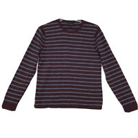 Banana Republic Heavy Knit Cotton Shirt Mens Sz S Small Red Stripe Long Sleeve