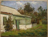 Russian Ukrainian Soviet Oil Painting realism architecture house village
