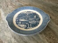 """CURRIER AND IVES BLUE by Royal (USA) HANDLED CAKE PLATE 11 1/2"""" wide, USA"""
