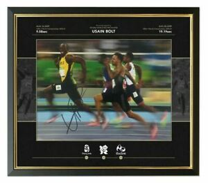 Usain Bolt Signed & FRAMED PHOTO MOUNT DISPLAY Olympics JAMAICA AFTAL COA (FTO)
