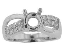 1.00 ct Ladies Round Cut Diamond Semi Mount Ring 18 kt G Color SI-1 Clarity