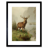 Painting Animal Portrait Red Deer Stag Mackeprang Framed Wall Art Print
