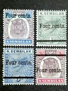 Straits Settlements 1899 Negri N.Sembilan Malaya Ovpt 4c Complete Set - 4v MLH