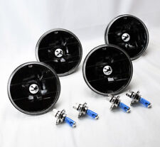 "FOUR 5.75"" 5 3/4 Round H4 Black Glass Headlight Conversion w/ Bulbs Set Plymouth"