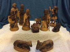 Olive Wood Hand Carved 11 piece Nativity Set Bethlehem