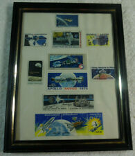 13 Mint Space Stamps Framed Mercury Apollo Pioneer Moon 160-39H